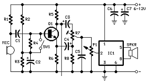 circuit diagram for full duplex intercom using tda7052 audio power