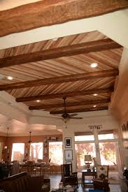 Opening A Home Decor Boutique by Accenting A Plank Ceiling With Beams Faux Wood Workshop