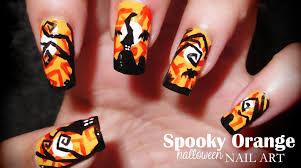 spooky orange halloween nail art youtube