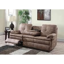 Fabric Recliner Sofa 499 00 Buck Fabric Reclining Sofa With Two Cup Holders Dealepic