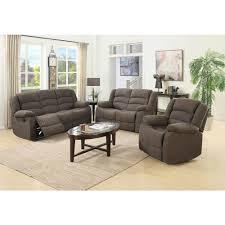 Living Room Reclining Sofas Ellis Contemporary Microfiber 3 Piece Living Room Set Brown S6021