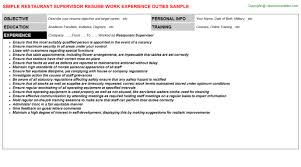 Sales Supervisor Job Description Resume by Restaurant Supervisor Job Title Docs