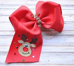 christmas hair bows christmas hair bow with embroidered rudolph bling