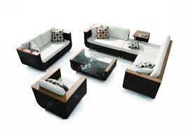 Sofa Set Images With Price Modern Black U0026 White 4pc Patio Sofa Set W Wooden Accents