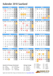Kalender 2018 Mit Feiertagen Saarland Kalender 2018 Saarland Zum Ausdrucken Kalender 2018
