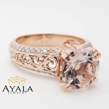 unique rose gold engagement ring 14k rose gold morganite