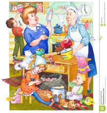 watercolor illustration family in kitchen preparing meal stock