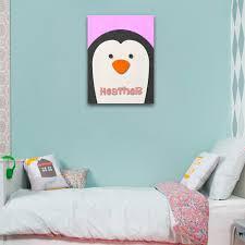 fuzzy felt kids name penguin personalised wall art canvas wall fuzzy felt kids name penguin personalised wall art
