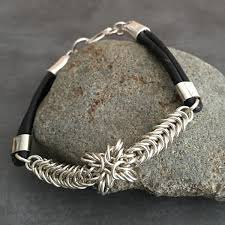 leather sterling bracelet images Sterling silver chainmaille weave bracelet black leather bands and jpg