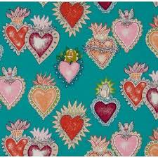 folk lorico almay corazon turquoise cotton fabric by