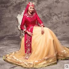 muslim wedding dresses muslim wedding dress gold embroidery details with