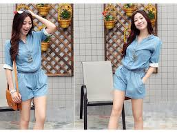 jean rompers and jumpsuits denim jumpsuit water wash one overall shorts