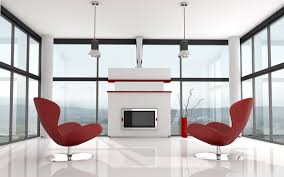 interior minimalist design with cute red chairs and high