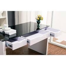 White High Gloss Computer Desk Maestro Computer Desk White High Gloss W Black Glass Top