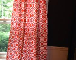 Geometric Orange Curtains Geometric Drapes Etsy