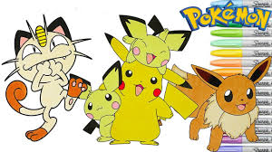 pokemon color pages pikachu pokemon coloring pages pikachu pichu meowth piplup eeve turwig