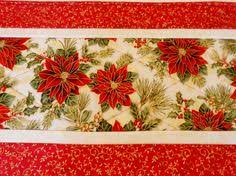 4 christmas quilted placemats patchwork traditional gold red