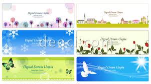 6 vector cartoon website banner card cover background design