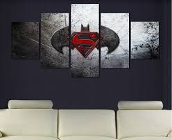 Superman Room Decor by 5 Pieces Canvas Prints Amazing Batman Vs Superman Painting Wall