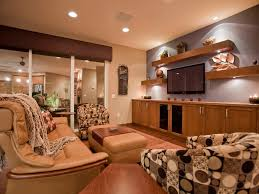 Tan And Gray Living Room by Wood Side Table Shelves Floating Accent Lighting Tan Leather Sofa