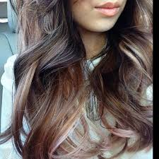rose gold lowlights on dark hair balayage ombre mix with a tint of rose gold hair colors