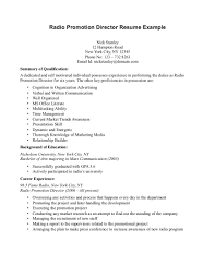 activities director resume cv promotional products radio promotion director resume sample