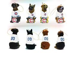 chicago cubs jersey wearing dogs christmas ornament set by team