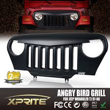 front matte black mean angry bird grille grill for 97 06 jeep