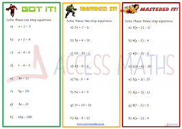 solving equations worksheets access maths