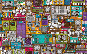 retro music devices pattern for 2560x1600 amirabet pinterest feb 2013 music themed wall murals one of the many additional attention grabbing trends we are seeing in wall murals these days is their installation in