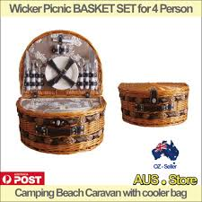 picnic basket set for 4 wicker picnic basket set for 4 person cing caravan with