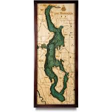 Bothell Washington Map by Lake Washington Wood Map 3d Nautical Topographic Chart Framed Art