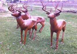metal deer lawn ornaments rustic lodge size