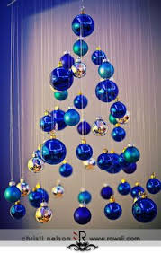 blue decorations hanging tree