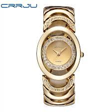 ladies steel bracelet images Luxury brand crrju quartz watch women gold steel bracelet watch jpg