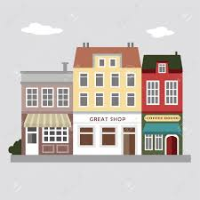 House Flat Design Set Of Cute Colorful Stores Houses Urban Vector Illustration