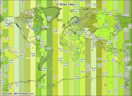 utc zone map 12 hour zones in twelve hour format