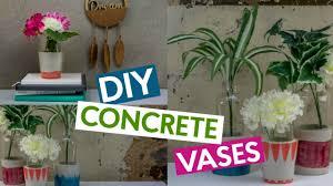 diy concrete vases easy home decor youtube