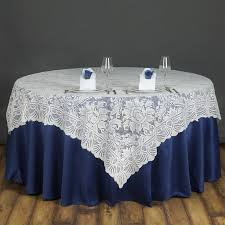 wholesale wedding linens 72x72 ivory lace table overlay with large flowers wedding party