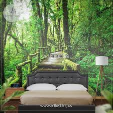 Forest Mural by Nature Wall Mural Chery Blossom Pathway On A Green Lawn Cherry