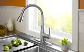 water ridge pullout kitchen faucet brushed nickel easy install new nice kitchen faucets for modern bathroom decoration kitchen faucets with white ceramic floor and glass