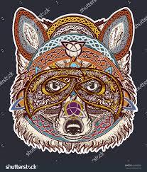 fox color tattoo art fox viking stock vector 649092604 shutterstock