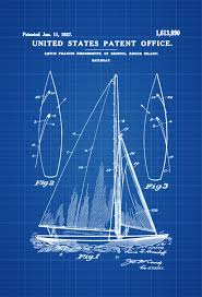 Sailboat Home Decor Herreshoff Sail Boat Patent Print Vintage Sailboat Boat