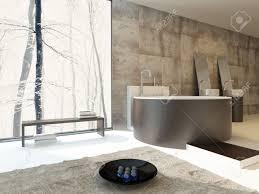 salle de bain luxe intérieur de salle de bains de luxe moderne dans des bassins beige