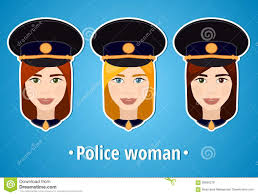 set of vector illustrations of a police woman police the