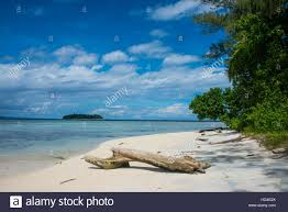 turquoise water and a white beach on christmas island buka stock