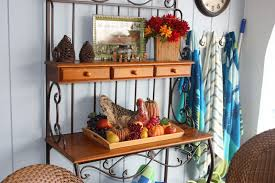 Wood Bakers Rack Decorating Ideas Handsome Dining Room Decoration With Wooden And