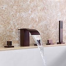 monora brushed nickel waterfall tub faucet three handles roman waterfall faucet best waterfall 2017