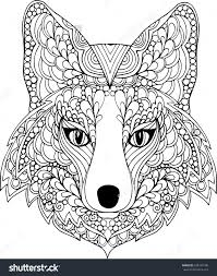 outline drawing of a fox hand drawn outline ornate fox head stock