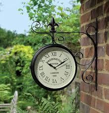Garden Wall Clocks by Charles Bentley Paddington Double Sided Garden Outdoor Bracket